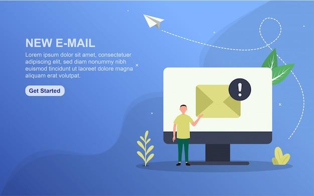 Novo modelo de página de destino de email.