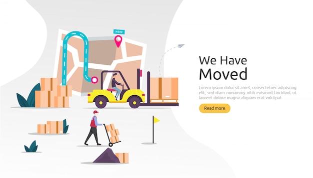 Novo negócio de anúncio de localização ou conceito de endereço de escritório de mudança. mudamos a ilustração para o modelo da página de destino, aplicativo móvel, cartaz, banner, panfleto, interface do usuário, web e plano de fundo