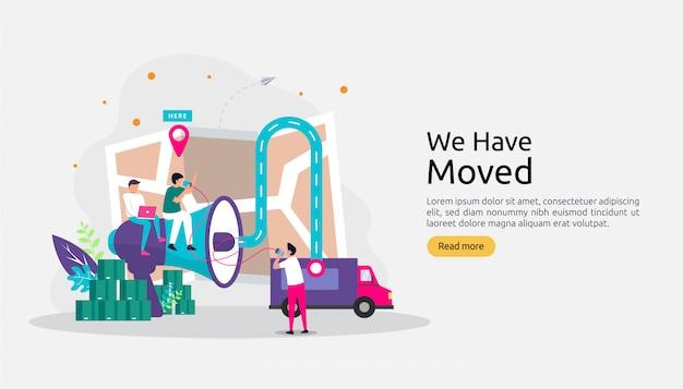 Novo negócio de anúncio de localização ou conceito de endereço de escritório de mudança.