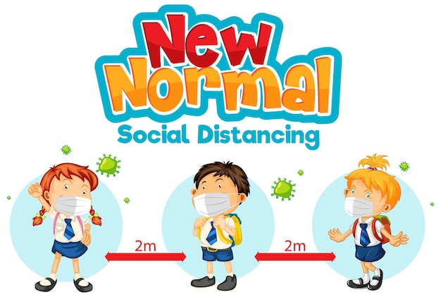 Novo normal com alunos mantendo distanciamento social
