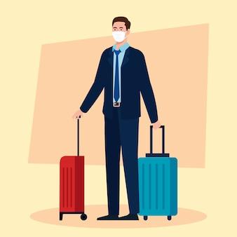 Novo normal de homem com máscara e malas de viagem com design de vírus covid 19 e tema de aeroporto