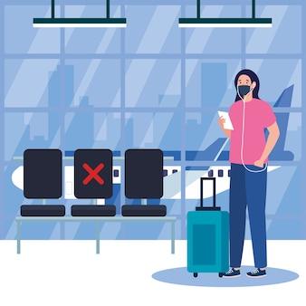 Novo normal de mulher com passagem máscara e bolsa no design do aeroporto do vírus covid 19 e tema de viagem