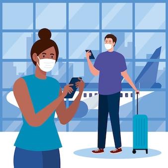 Novo normal de mulher homem com máscara de smartphones e bolsa no design do aeroporto de vírus covid 19 e tema de viagem