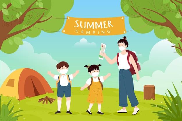Novo normal em acampamentos de verão com pessoas