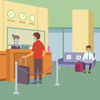 Novo normal em ilustração plana de hotel