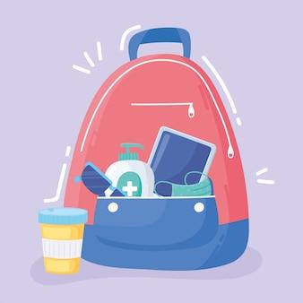 Novo normal, mochila com remédio para álcool e óculos após ilustração covid 19