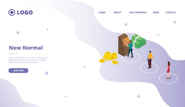 Novo normal para o modelo de página de destino de página inicial da página inicial site da web de campanha com estilo moderno desenho animado