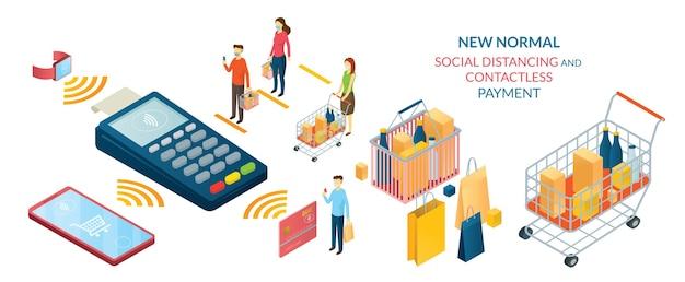 Novo normal, pessoas em distanciamento social e pagamento sem contato, compras no mercado e loja
