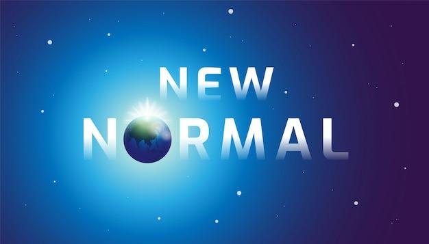 Novo normal, terra, hoje, tipografia, ilustração.