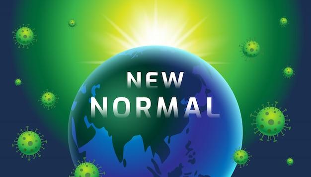 Novo normal, terra, modelo de design do banner, hoje, tipografia, ilustração.