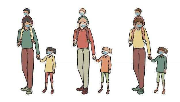 Novo pai normal e crianças brincam fora coleção de ilustração