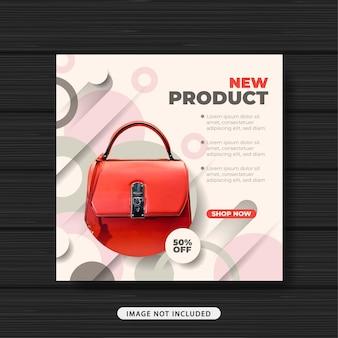 Novo produto sacola venda promoção mídia social banner modelo de postagem