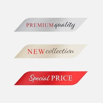 Novo rótulo e preço especial cor vermelha. bandeira moderna e emblemas de design.