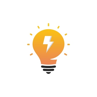 Novo símbolo de ideia, lâmpada plana brilhante dos desenhos animados. ícone de ideia, logotipo do círculo, sinal estilizado de lâmpadas vetoriais, logotipo de cor branca e laranja