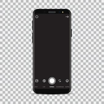 Novo smartphone com aplicativo de câmera.