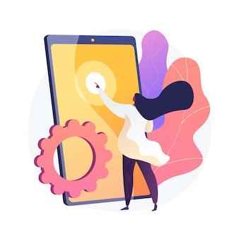 Novo teste de gadget. personagem plana feminina pressionando na tela do smartphone. mulher escolhendo o tablet. touchpad, touchscreen, dispositivo eletrônico.