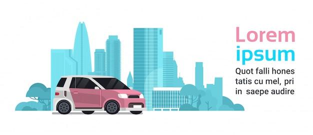 Novo veículo híbrido sobre a cidade de silhueta