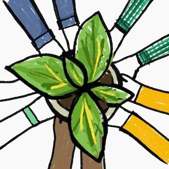 Novo vetor de doodle de hobby normal, conceito de reflorestamento