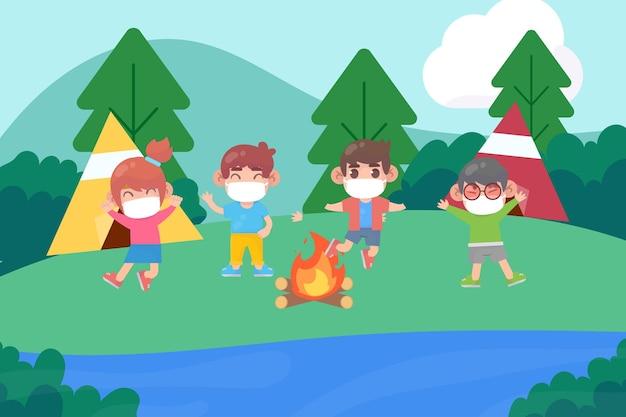 Novo vetor premium normal em acampamentos de verão