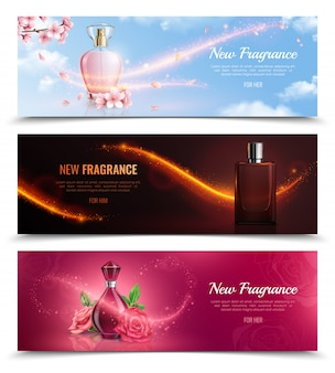 Novos banners de cosméticos horizontais de fragrância com frascos de perfume e efeito de magia voando brilham realistas