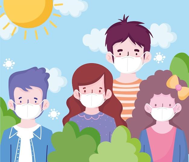 Novos desenhos animados de pessoas normais com máscaras no design do parque do tema do vírus covid-19