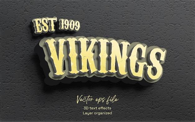 Novos efeitos de texto vintage dos vikings em 3d