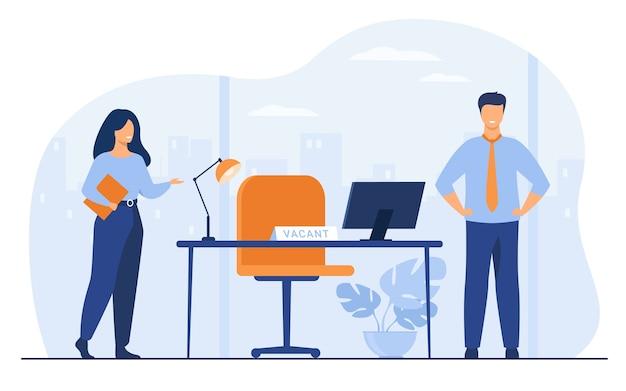 Novos funcionários exigindo no escritório para trabalhar ilustração vetorial plana isolada. gerente de rh dos desenhos animados contratando ou recrutando pessoal. recrutamento, vaga e conceito de negócio