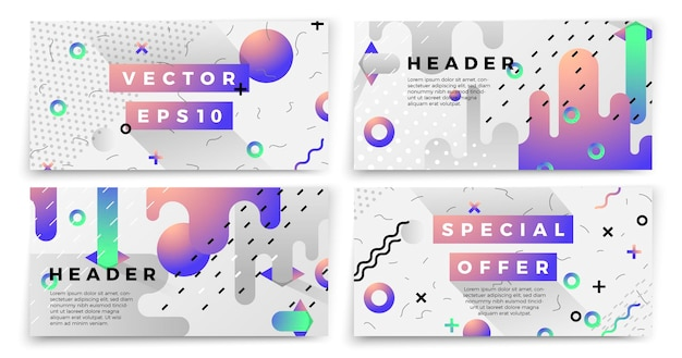 Novos modelos de banner de estilo memphis de vetor, fundo branco moderno com formas geométricas e lugar para o seu texto.