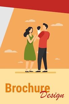 Novos pais cuidando do bebê juntos. pai segurando criança, mãe alcançando as mãos para ilustração vetorial plana de criança. paternidade, conceito de creche para banner, design de site ou página de destino
