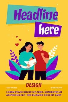 Novos pais felizes segurando ilustração de bebê