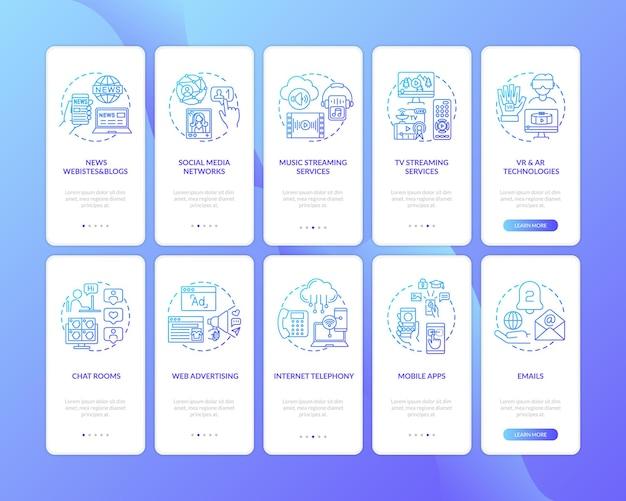 Novos tipos de mídia integrando a tela da página do aplicativo móvel com o conjunto de conceitos