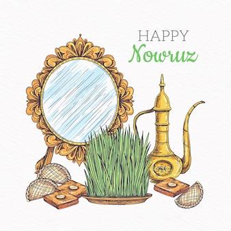 Nowruz feliz com espelho