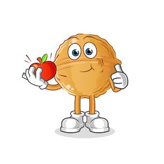 Noz comendo uma ilustração de maçã. personagem