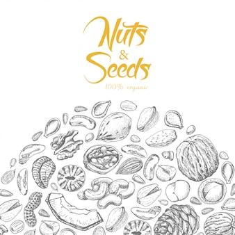 Nozes e sementes 100% de composição orgânica