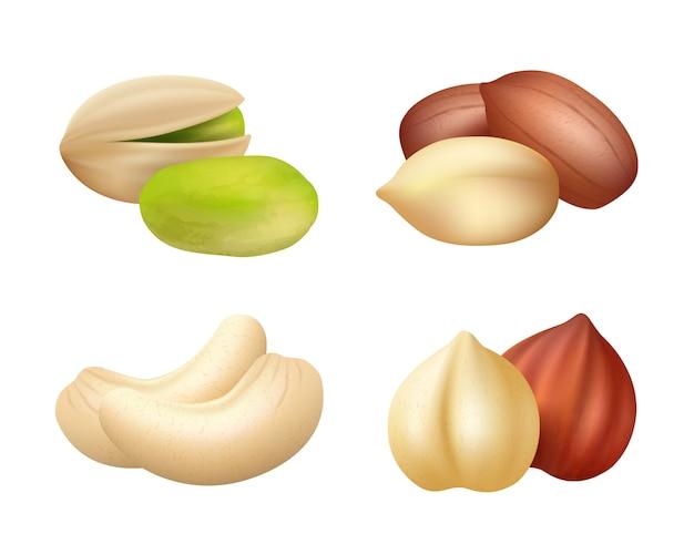 Nozes realistas. sementes misturadas alimentos secos fotos secas de caju de nozes