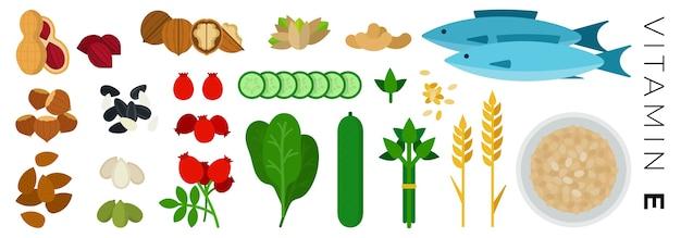 Nozes, vegetais e produtos animais isolados no branco