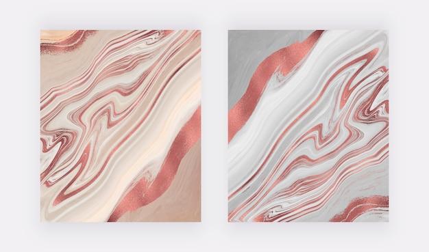 Nu e cinza com design de tinta líquida de folha de ouro rosa