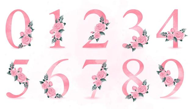Numeração fofa com ilustração de rosas