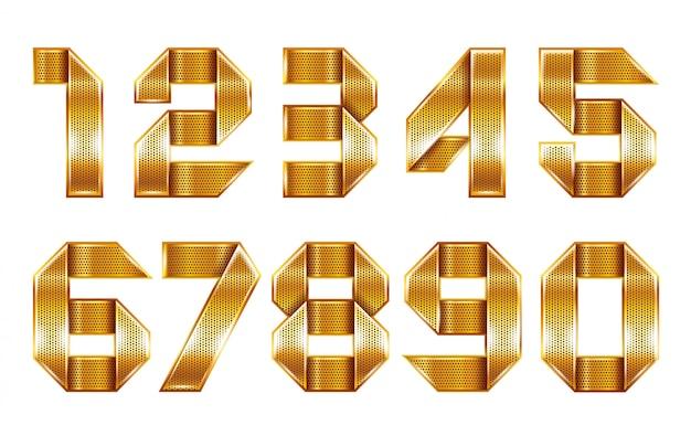 Numerais dobrados de uma fita dourada perfurada metálica