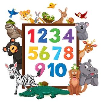 Número 0 a 9 no banner com animais selvagens