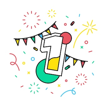 Número 1 com o banner do tema festivo.