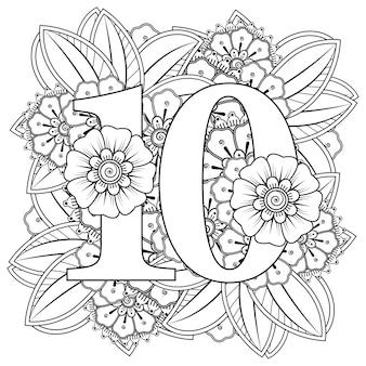 Número 10 com ornamento decorativo de flor mehndi na página do livro para colorir estilo oriental étnico