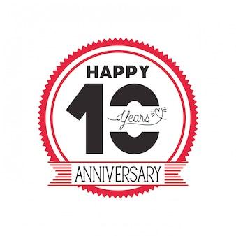 Número 10 para emblema de comemoração de aniversário ou insígnia
