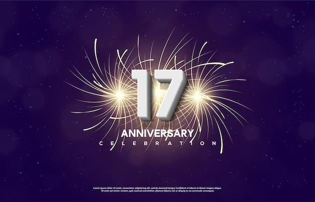 Número 17 para comemorar um aniversário com uma ilustração de fogos de artifício por trás dos números.