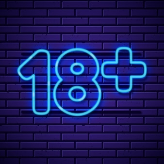 Número 18+ em estilo neon azul