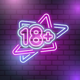 Número 18+ em luz neon