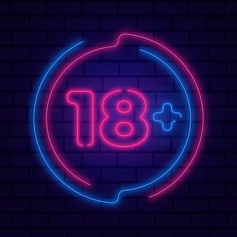 Número 18+ em neon