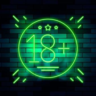 Número 18+ em tema neon