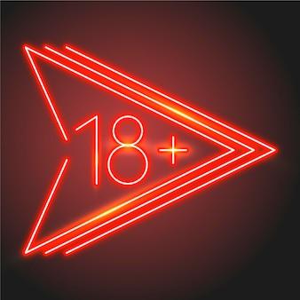 Número 18+ no conceito de estilo neon