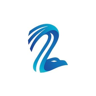 Número 2 águia forma logo vector